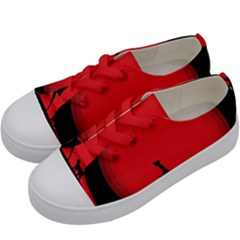 Girl Cat Scary Red Animal Pet Kids  Low Top Canvas Sneakers by Nexatart