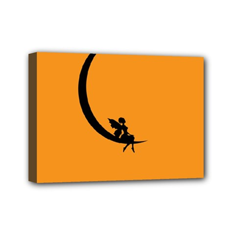 Angle Moon Scene Girl Wings Black Mini Canvas 7  X 5