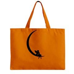 Angle Moon Scene Girl Wings Black Zipper Mini Tote Bag
