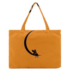 Angle Moon Scene Girl Wings Black Zipper Medium Tote Bag