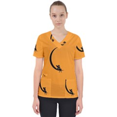 Angle Moon Scene Girl Wings Black Scrub Top