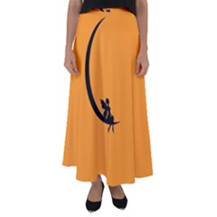 Angle Moon Scene Girl Wings Black Flared Maxi Skirt
