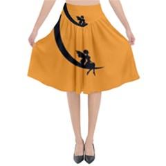 Angle Moon Scene Girl Wings Black Flared Midi Skirt