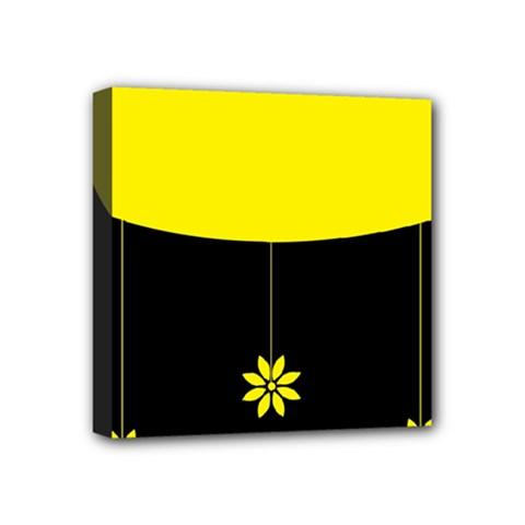 Flower Land Yellow Black Design Mini Canvas 4  X 4