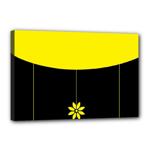 Flower Land Yellow Black Design Canvas 18  X 12