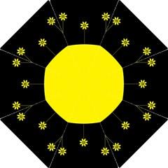 Flower Land Yellow Black Design Folding Umbrellas