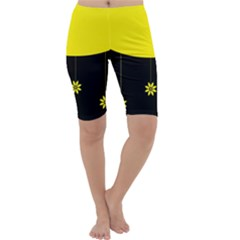 Flower Land Yellow Black Design Cropped Leggings