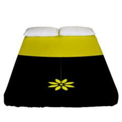 Flower Land Yellow Black Design Fitted Sheet (king Size)