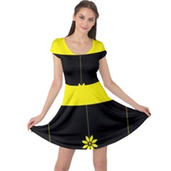 Flower Land Yellow Black Design Cap Sleeve Dress