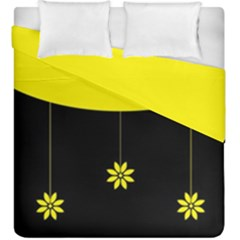 Flower Land Yellow Black Design Duvet Cover Double Side (king Size)