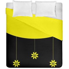 Flower Land Yellow Black Design Duvet Cover Double Side (california King Size)