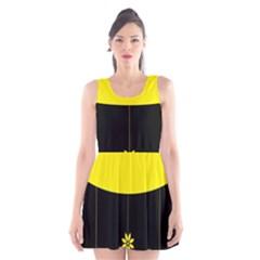 Flower Land Yellow Black Design Scoop Neck Skater Dress