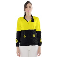 Flower Land Yellow Black Design Wind Breaker (women)