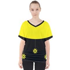 Flower Land Yellow Black Design V Neck Dolman Drape Top