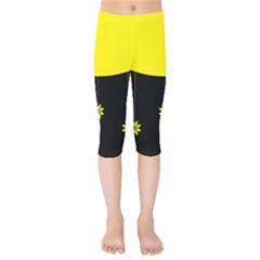 Flower Land Yellow Black Design Kids  Capri Leggings