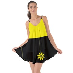 Flower Land Yellow Black Design Love The Sun Cover Up