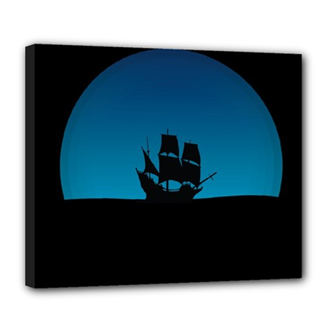 Ship Night Sailing Water Sea Sky Deluxe Canvas 24  X 20