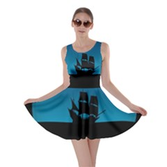 Ship Night Sailing Water Sea Sky Skater Dress