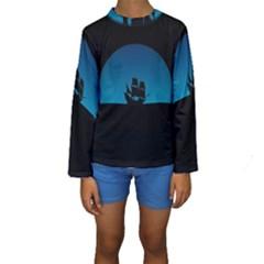 Ship Night Sailing Water Sea Sky Kids  Long Sleeve Swimwear