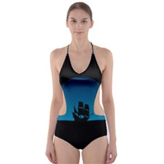 Ship Night Sailing Water Sea Sky Cut Out One Piece Swimsuit