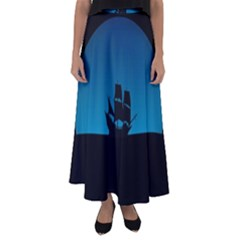 Ship Night Sailing Water Sea Sky Flared Maxi Skirt