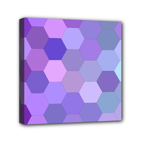 Purple Hexagon Background Cell Mini Canvas 6  X 6  by Nexatart