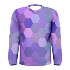 Purple Hexagon Background Cell Men s Long Sleeve Tee