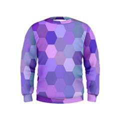 Purple Hexagon Background Cell Kids  Sweatshirt