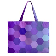 Purple Hexagon Background Cell Zipper Mini Tote Bag by Nexatart
