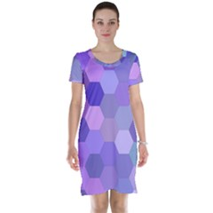 Purple Hexagon Background Cell Short Sleeve Nightdress