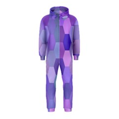 Purple Hexagon Background Cell Hooded Jumpsuit (kids)