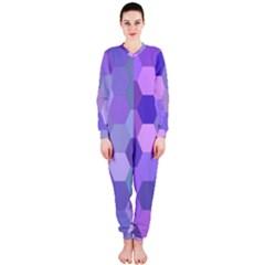Purple Hexagon Background Cell Onepiece Jumpsuit (ladies)