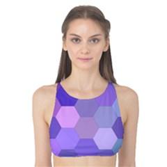 Purple Hexagon Background Cell Tank Bikini Top