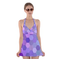 Purple Hexagon Background Cell Halter Swimsuit Dress