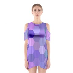 Purple Hexagon Background Cell Shoulder Cutout One Piece by Nexatart