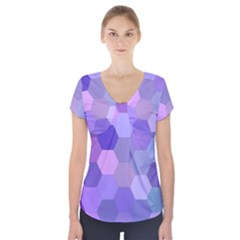Purple Hexagon Background Cell Short Sleeve Front Detail Top