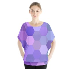 Purple Hexagon Background Cell Blouse by Nexatart