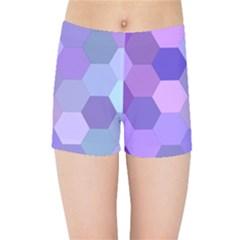 Purple Hexagon Background Cell Kids Sports Shorts