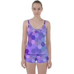 Purple Hexagon Background Cell Tie Front Two Piece Tankini by Nexatart