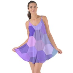 Purple Hexagon Background Cell Love The Sun Cover Up