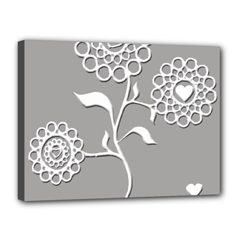 Flower Heart Plant Symbol Love Canvas 16  X 12