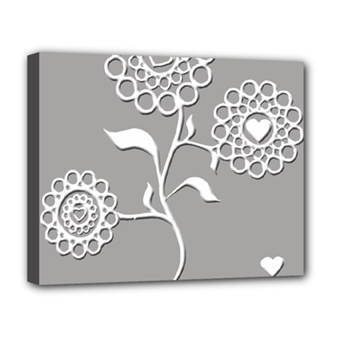 Flower Heart Plant Symbol Love Deluxe Canvas 20  X 16   by Nexatart