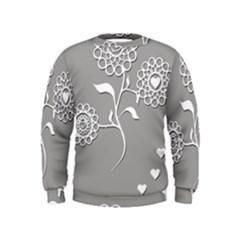 Flower Heart Plant Symbol Love Kids  Sweatshirt by Nexatart