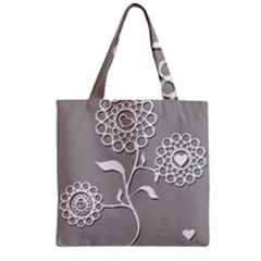 Flower Heart Plant Symbol Love Zipper Grocery Tote Bag by Nexatart