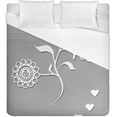 Flower Heart Plant Symbol Love Duvet Cover (king Size)