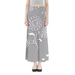Flower Heart Plant Symbol Love Full Length Maxi Skirt by Nexatart