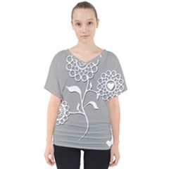 Flower Heart Plant Symbol Love V Neck Dolman Drape Top