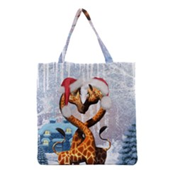 Christmas, Giraffe In Love With Christmas Hat Grocery Tote Bag by FantasyWorld7