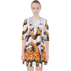 Christmas, Giraffe In Love With Christmas Hat Pocket Dress