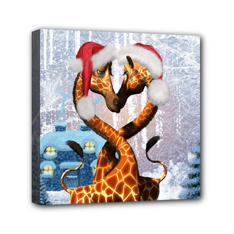 Christmas, Giraffe In Love With Christmas Hat Mini Canvas 6  X 6  by FantasyWorld7
